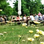 Besucher beim veganen Sommerbrunch.
