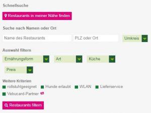 Schnellsuche der Restaurantliste auf der ProVeg-Homepage
