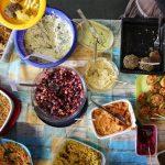Ansicht eines Teils des Angebots des veganen Herbstbrunchs